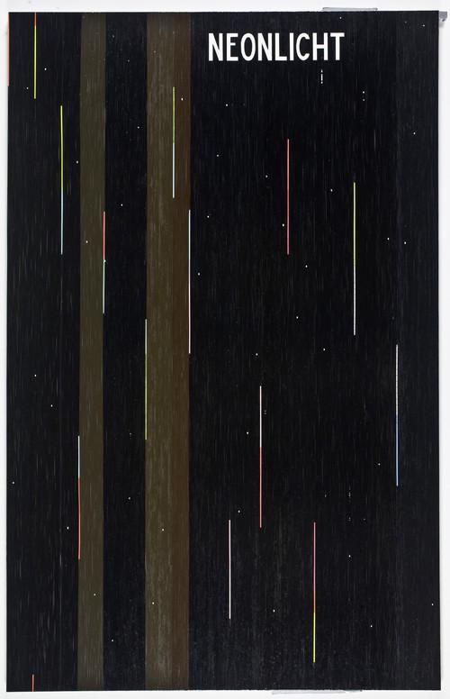 <i>Wenn die Nacht anbricht (Neonlicht (Kraftwerk))</i>,       2008<br />      cassette tape and adhesive tape on canvas,        274 x 174 cm<br />