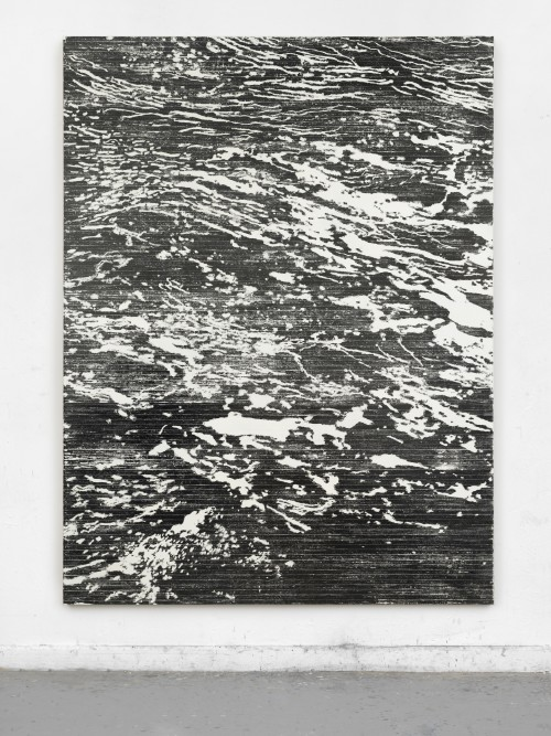 »schwere See, mein Herz«, 2018<br />magnetic vhs coating, adhesive tape, acrylic on canvas, 229 x 174 cm<br />