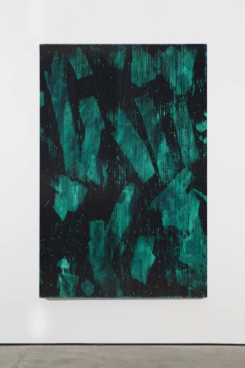 »Jade grün«,       2013<br />      Cassette tape, acrylic and adhesive tape on canvas,        222 x 147 cm<br />