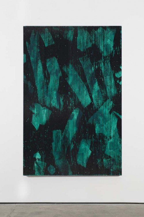 »Jade grün«, 2013<br />Cassette tape, acrylic and adhesive tape on canvas, 222 x 147 cm<br />