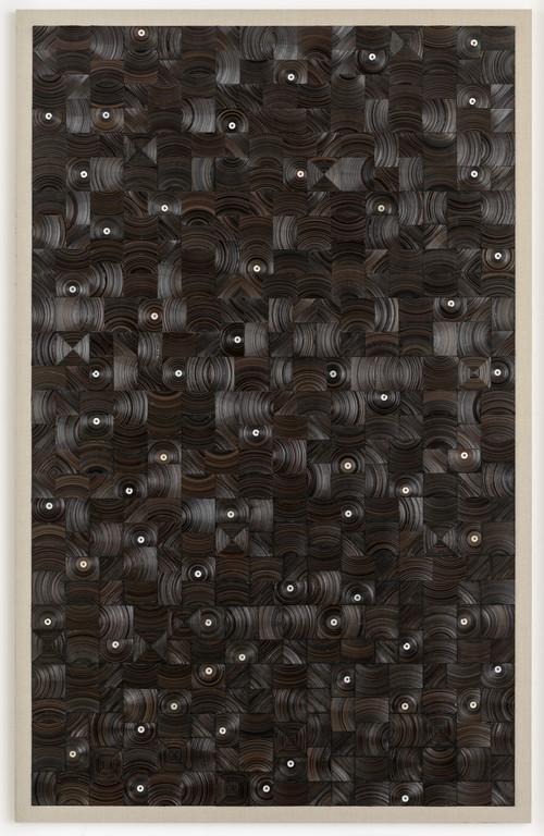 »und dann auf Sterne sehn«,       2015<br />      cassette tape, cassette wheels and canvas on wood,        274 x 174 cm<br />