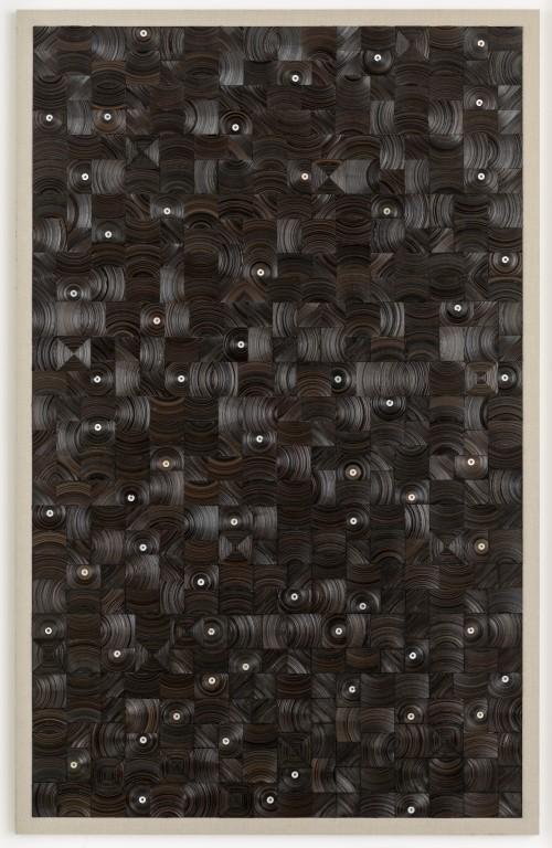 »und dann auf Sterne sehn«, 2015<br />cassette tape, cassette wheels and canvas on wood, 274 x 174 cm<br />