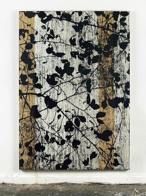 <i>Und doch läßt etwas Kirschen blühen im April (Konstantin Wecker)</i>,       2014<br />      cassette tape and acrylic paint on canvas,        222 x 156 cm<br />