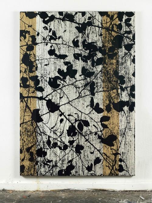»Und doch läßt etwas Kirschen blühen im April (Konstantin Wecker)«, 2014<br />cassette tape and acrylic paint on canvas, 222 x 156 cm<br />