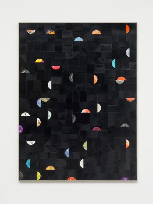 »Das Feld«, 2016<br />cut vinyl records and canvas on wood, 174 x 130 cm<br />