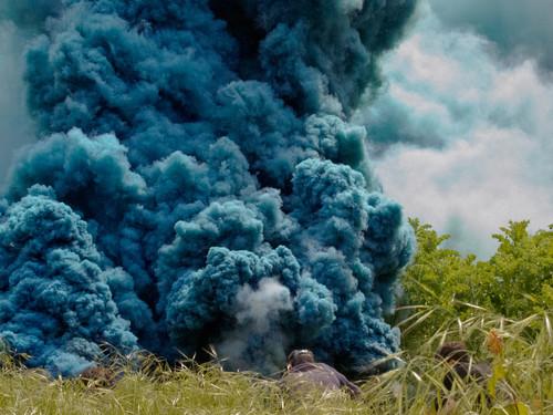 <i>Celeste</i>,       2014<br />      Still. HD color video, grey sky, sky blue smoke,        5:55 min<br />