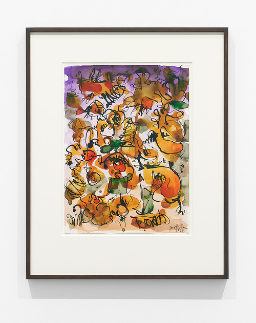 <i>Untitled (Mantis Mannequin 1)</i>,       2020<br />      watercolor, ink on paper,        60 x 48 cm (framed)<br />