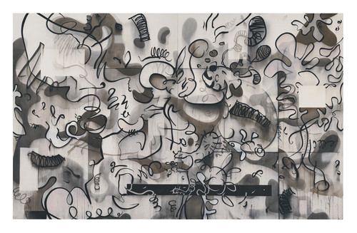 »Animierte Dinge und einige rationale Gedanken«,       2019<br />      ink and acrylic and charcoal on canvas,        250 x 400 cm<br />