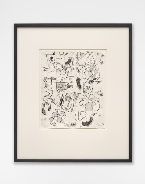 <i>Mantis Mannequin</i>,       2020<br />      graphite on paper,        55 x 47 cm (framed)<br />