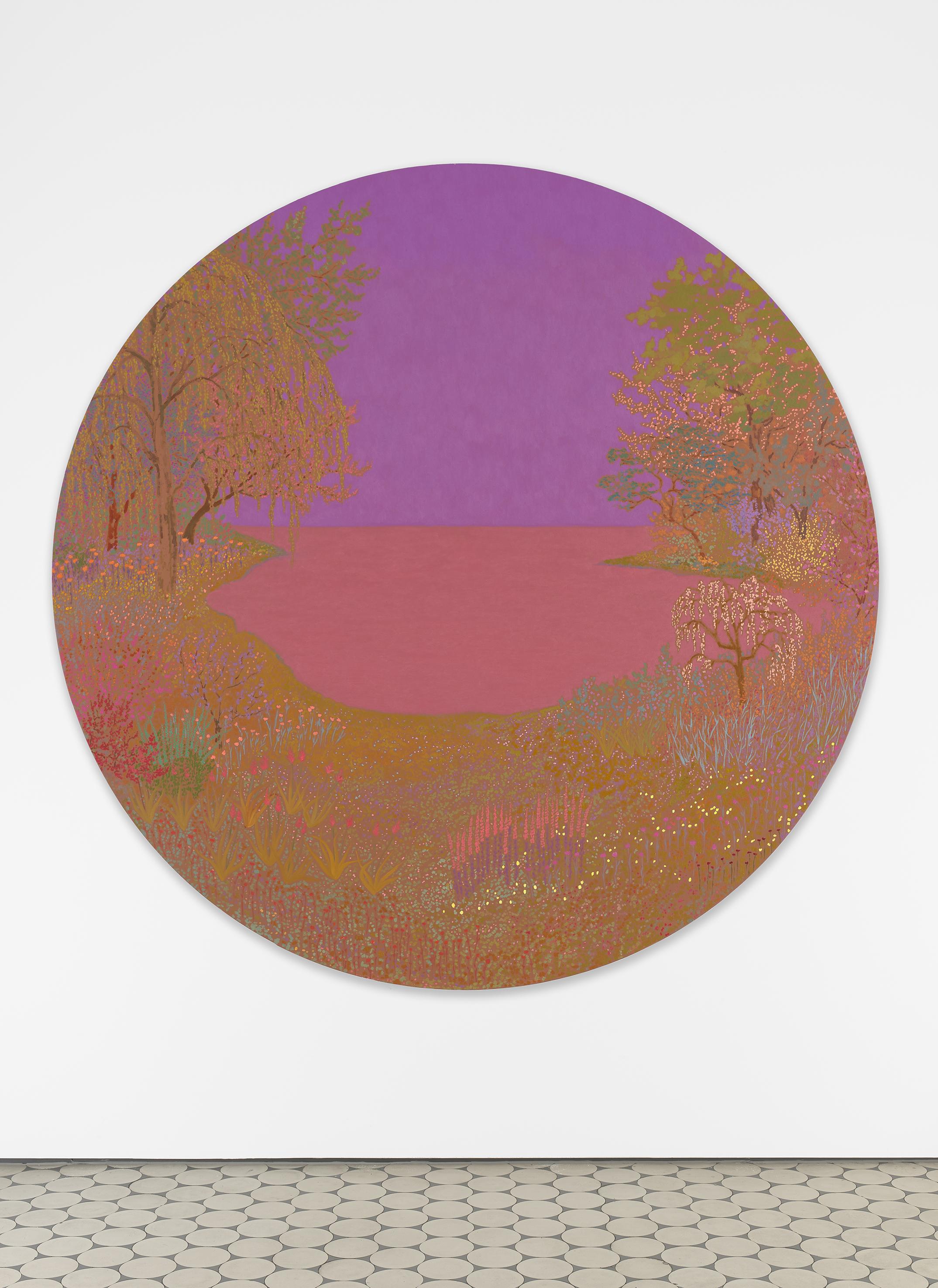 <i>adrift duskdazed some divine glamour</i>,       2020<br />      oil on canvas,        ø 183 cm<br />