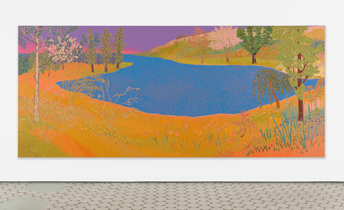 <i>much adrift seemed serenest sea</i>,       2020<br />      oil on canvas,        183 x 427 cm<br />