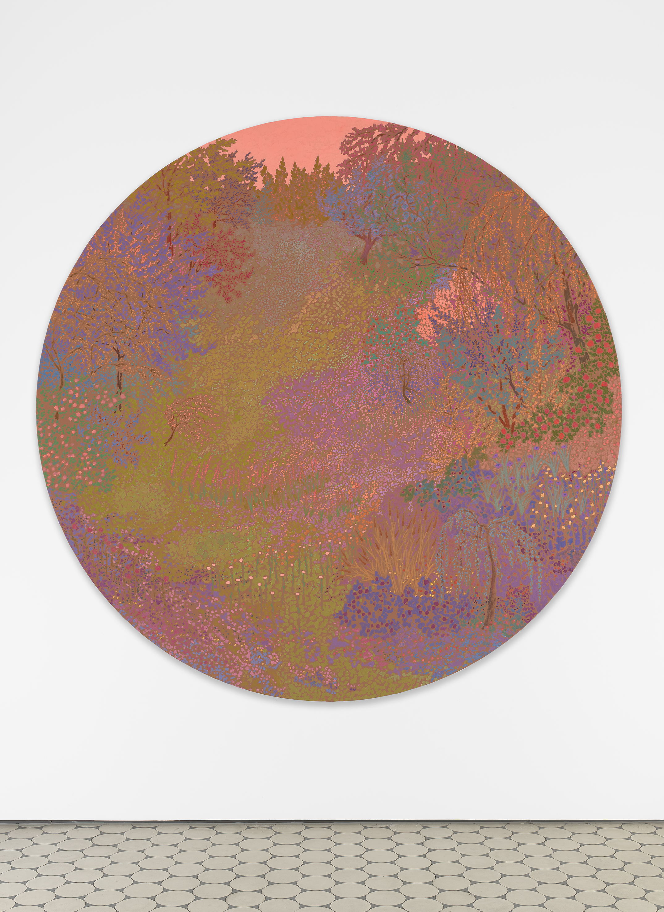 <i>bright beacons singing strikes silent</i>,       2020<br />      oil on canvas,        ø 183 cm<br />