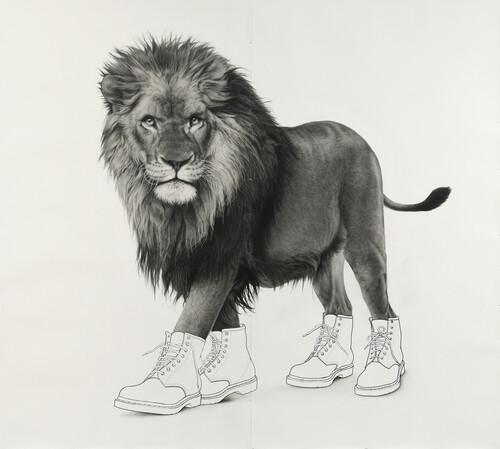 <i>Lion 9</i>,       2020<br />      pencil on paper,        203 x 227 cm<br />