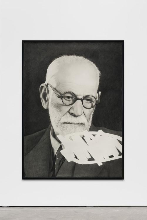 »Sigmund Silent 2«,       2017<br />      pencil on paper,        156 x 115 cm<br />