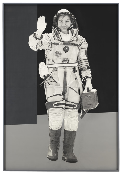 <i>Spacewoman</i>,       2015<br />      Pencil and enamel on paper,        227.3 x 154.9 cm<br />