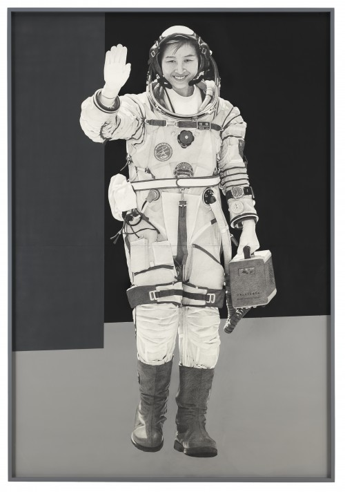 »Spacewoman«, 2015<br />Pencil and enamel on paper, 227.3 x 154.9 cm<br />
