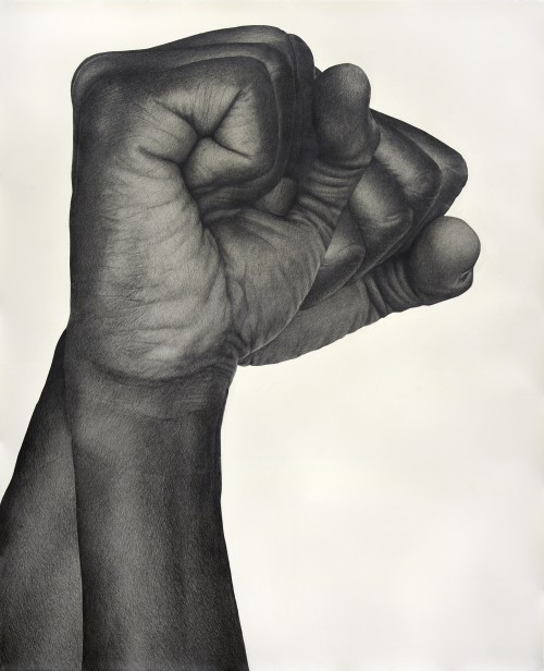 »Two Handed (Right)«, 2017<br />pencil on paper, 130.81 x 106.68 cm<br />