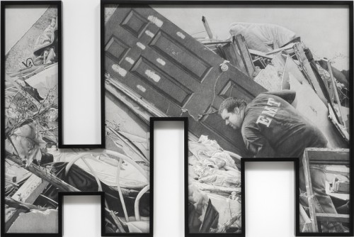 »Theme Time – Weather«, 2013<br />pencil on paper with shaped frame, 115 x 173 cm<br />Photograph by Robert Wedemeyer