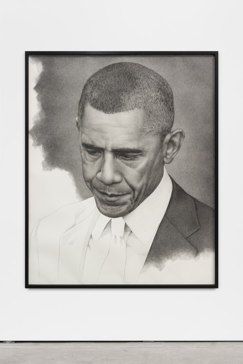 »Unfinished Obama (mirrored)«, 2016<br />pencil on paper, 161 x 131 cm<br />