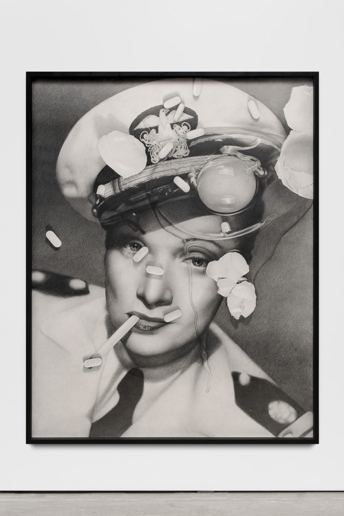 <i>Marlene Dietrich (with cracked egg and Zoloft)</i>,       2017<br />      pencil on paper,        166 x 130 x 5 cm (framed)<br />
