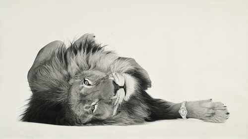 <i>Lion 8</i>,       2020<br />      pencil on paper,        130 x 235 cm<br />