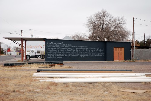 "»Nothing Beside Remains«, 2011<br />Wall facade<br />Installation view ""Questions for Marfa"", Marfa TX, USA, 2011"