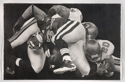 <i>Down Box football</i>,       2012<br />      Pencil on paper,        259 x 396 cm<br />
