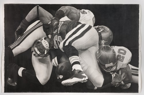 »Down Box football«, 2012<br />Pencil on paper, 259 x 396 cm<br />