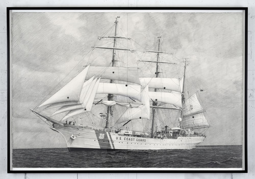 <i>Drawing of USCG Eagle With Sails Shot Out bymy father with a black powder revolver</i>,       2014<br />      Pencil on paper with bullet holes,        81 x 117 cm (framed)<br />