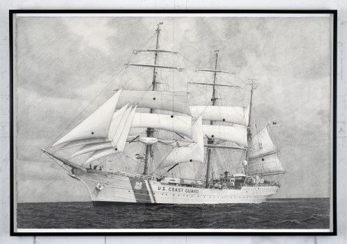 »Drawing of USCG Eagle With Sails Shot Out bymy father with a black powder revolver«, 2014<br />Pencil on paper with bullet holes, 81 x 117 cm (framed)<br />