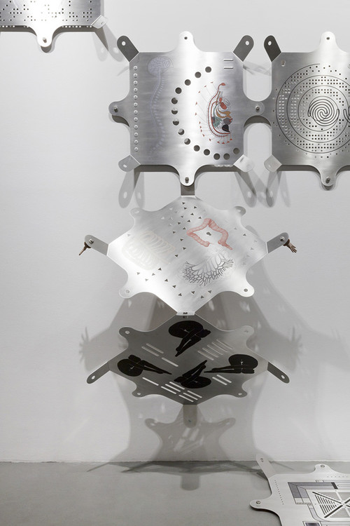 "<i>Modular Glyphic System (Mariechen Danz in collaboration with Genghis Khan Fabrication Co.)</i>,       2013 / 2017<br />             <br />      Installation view ""Artificial Tears"", Vienna Biennale , MAK Museum für Angewandte Kunst, Vienna, Austria, 2017 Photo: Aslan Kudrnofsky"
