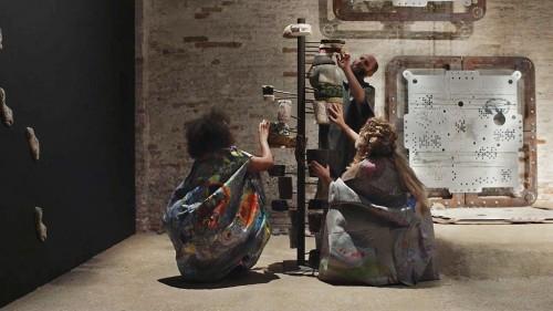 "»Knot in Arrow: Ore Oral Orientation«, 2017<br /><br />Performance by Mariechen Danz with Ronel Doual, Marko Lakobrija, Brandon Rosenbluth, ""Viva Arte Viva"" curated by Christine Macel, 57. Biennale di Venezia, Venice, Italy, 2017 Music by Gediminas Žygus & UNMAP video still"