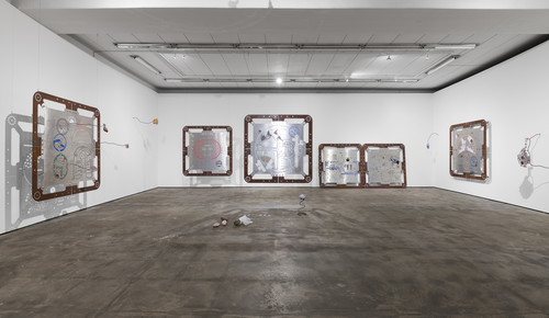 "<i>Installation view, ""Ore Oral Orientation"", WENTRUP, Berlin, Germany, 2018</i>,       <br />             <br />      aluminium works in cooperation with Genghis Khan Fabrication Co."