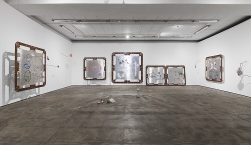 """»Installation view, """"Ore Oral Orientation"""", WENTRUP, Berlin, Germany, 2018«, <br /><br />aluminium works in cooperation with Genghis Khan Fabrication Co."""