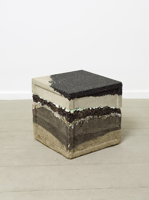 <i>learning cube (soil sample)</i>,       2011<br />      pebbles, sand, Styrofoam, wood chips, Paper, plastic and glass trash, dirt, epoxy,        42 × 42 × 42 cm<br />
