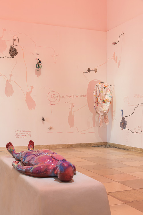 "<i>WOMB TOMB</i>,       2014/ 2018<br />      mixed media installation,        various dimensions<br />      Installation view ""Blind Faith: Between the Visceral and the Cognitive in Contemporary Art"", Haus der Kunst, Munich, Germany, 2018. Photo: Max Geutler"