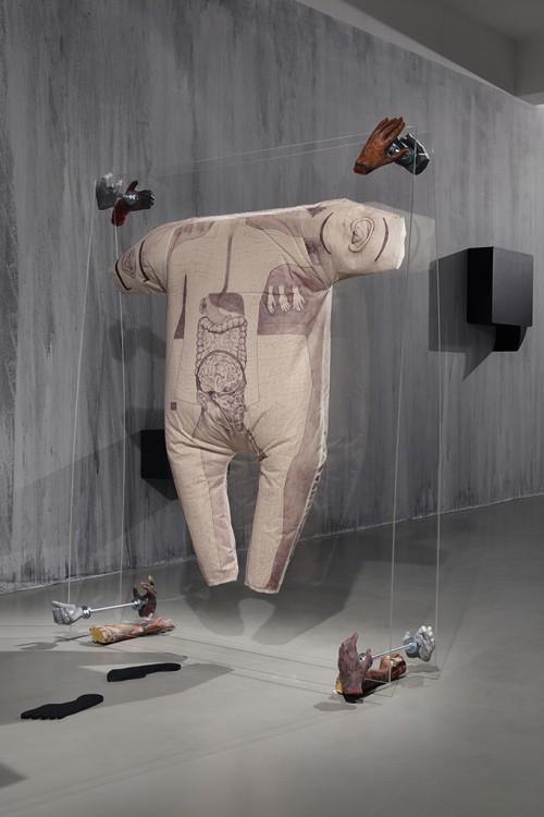 »Common Carrier Case (Präparat - Avatar)«, 2012<br />Digital print on cotton, wadding, plexi glasss, epoxy, 177,4 x 153 x 51 cm<br />GAK – Gesellschaft für Aktuelle Kunst, Bremen, Germany, 2012. Photo: Tobias Hügel