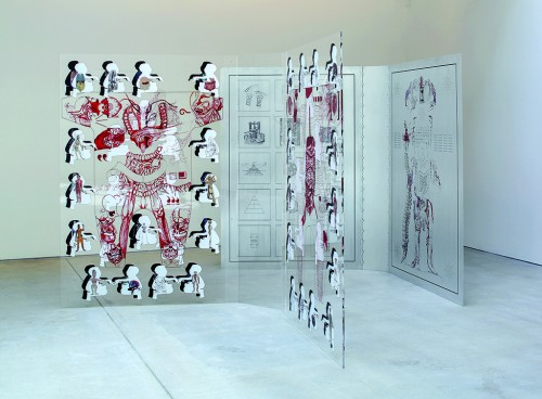"""»Open Book: Vessel Veins«, <br />""""Methods of Inscription: bodies Ink"""", 2013, in collaboration with Genghis Khan Fabrication Co., screen print on aluminium, 3 m x 1,5 m x 2 m<br />Installation View, """"Mapping the Body"""", Galerie im Taxispalais, Innsbruck 2016. Photo: Rainer Iglar"""