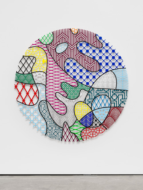 »Pattern Kinship, pollen«,       2018<br />      waterjet cut aluminium, acrylic paint,        t = 1, Ø 160 cm<br />