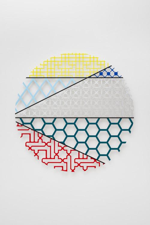 <i>Pattern Kinship III</i>,       2017<br />      Waterjet cut aluminium, acrylic paint,        120 x 120 x 1 cm<br />