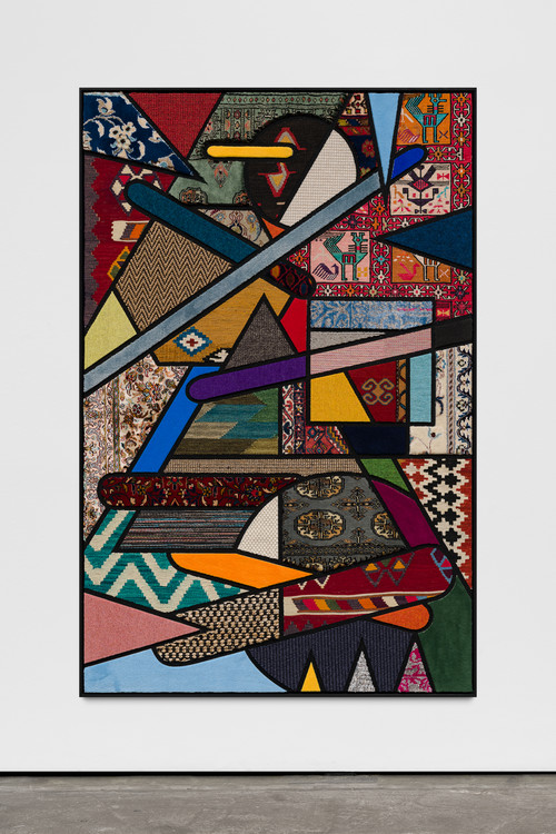 <i>Social Fabric, Percussion</i>,       2019<br />      carpet pieces on wood,        172 x 112 x 5 cm<br />
