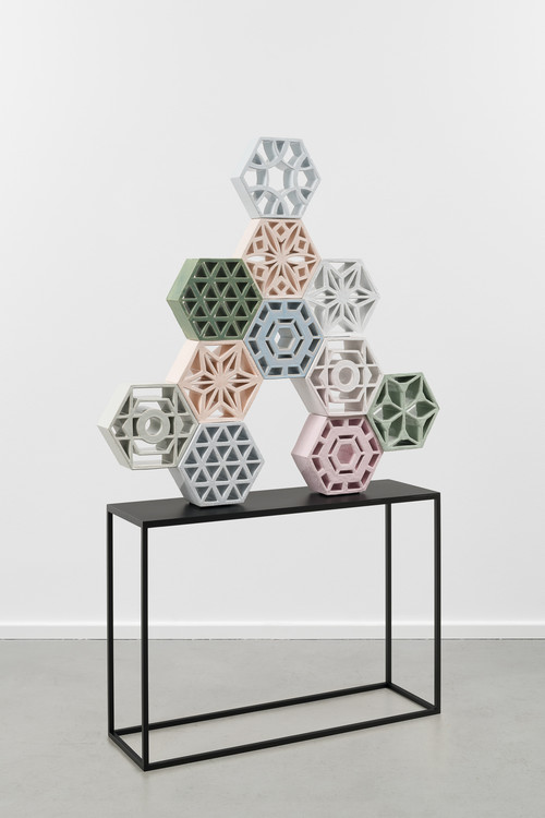 <i>Jali Tree 1</i>,       2018<br />      glazed ceramic, powder coated steel,        113 x 113 x 15 cm<br />      alterate view
