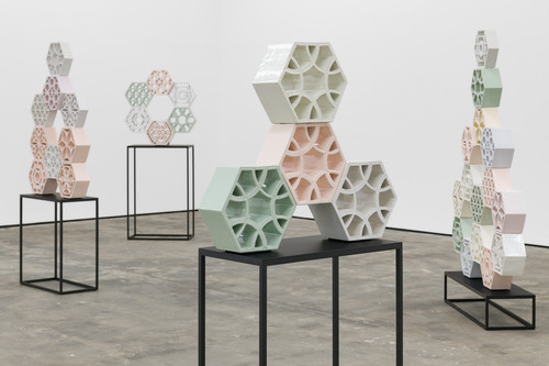 <i>Jali</i>,       2018<br />      glazed ceramic, powder coated steel,       <br />      Installation view 'Muster', WENTRUP, Berlin, Germany, 2018