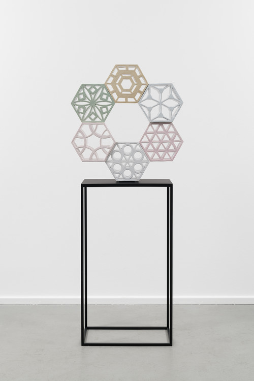 <i>Jali Ring 1</i>,       2018<br />      glazed ceramic, powder coated steel,        76 x 71 x 15 cm<br />