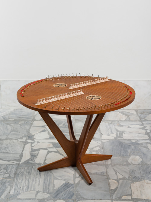 <i>Table Santouri (from the series Music Room, Athens)</i>,       2017<br />      Wood, strings, Santouri mechanism, two ornamental plates in horn,        58.5 x Ø 77,5 cm<br />