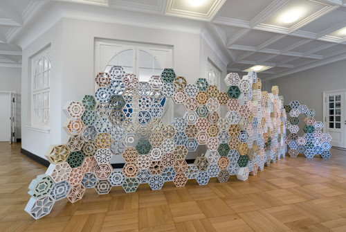 <i>Jali</i>,       2017<br />      Glazed Ceramics,        220 x 650 x 14 cm<br />      Installation view: documenta 14  Kassel, Germany and Athens, Greece