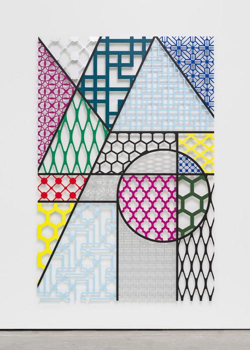 »Pattern Kinship Pyramid«,       2017<br />      waterjet cut aluminium, acrylic paint,        198 x 132 x 1 cm<br />