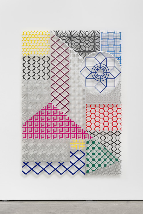 "<i>Pattern Kinship [Musterverwandtschaft]</i>,       2016<br />      Aluminium,        190 x 130 cm<br />      Pattern Kinship [Musterverwandtschaft] showcases a diverse landscape of ornaments and patterns, which intentionally were used in different cultures as Venetian blinds to secure intimacy and privacy. As objects in space, detached of their original setting, they become exceptional/new elements of form, questioning human practices of protecting the private sphere. Aladağ has continuously worked on notion of social (in-)visibility and undermined a predetermined gaze on what is conceived as oriental and what is regarded as western. Her new series offers a juxtaposition of architectural forms that in reality could not have met, being from different geographical origins and from various times. Yet, as in her earlier ""Pattern Matching"" series it is precisely and only in her works that a historically impossible blend of divers styles and forms generates a unique new hybrid."