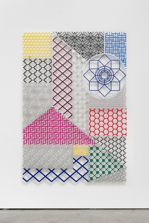 "»Pattern Kinship [Musterverwandtschaft]«, 2016<br />Aluminium, 190 x 130 cm<br />Pattern Kinship [Musterverwandtschaft] showcases a diverse landscape of ornaments and patterns, which intentionally were used in different cultures as Venetian blinds to secure intimacy and privacy. As objects in space, detached of their original setting, they become exceptional/new elements of form, questioning human practices of protecting the private sphere. Aladağ has continuously worked on notion of social (in-)visibility and undermined a predetermined gaze on what is conceived as oriental and what is regarded as western. Her new series offers a juxtaposition of architectural forms that in reality could not have met, being from different geographical origins and from various times. Yet, as in her earlier ""Pattern Matching"" series it is precisely and only in her works that a historically impossible blend of divers styles and forms generates a unique new hybrid."