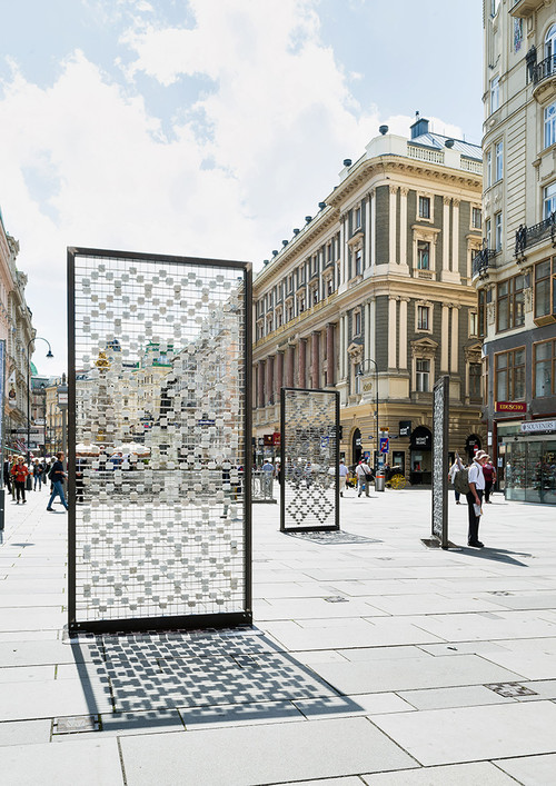 <i>Screen I–III</i>,       2016<br />      Cobblestones, steel frames, stainless steel grid, 310 x 150 x 15 cm,        Installation, Kunstplatz Graben, Vienna, Austria, 2016 (Photo by Iris Ranziger)<br />      Screen I–III